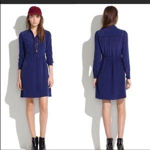 Madewell Silk Cinema Dress blue 6